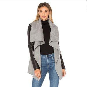 Mackage Asymmetrical Leather Sleeve Coat in Grey